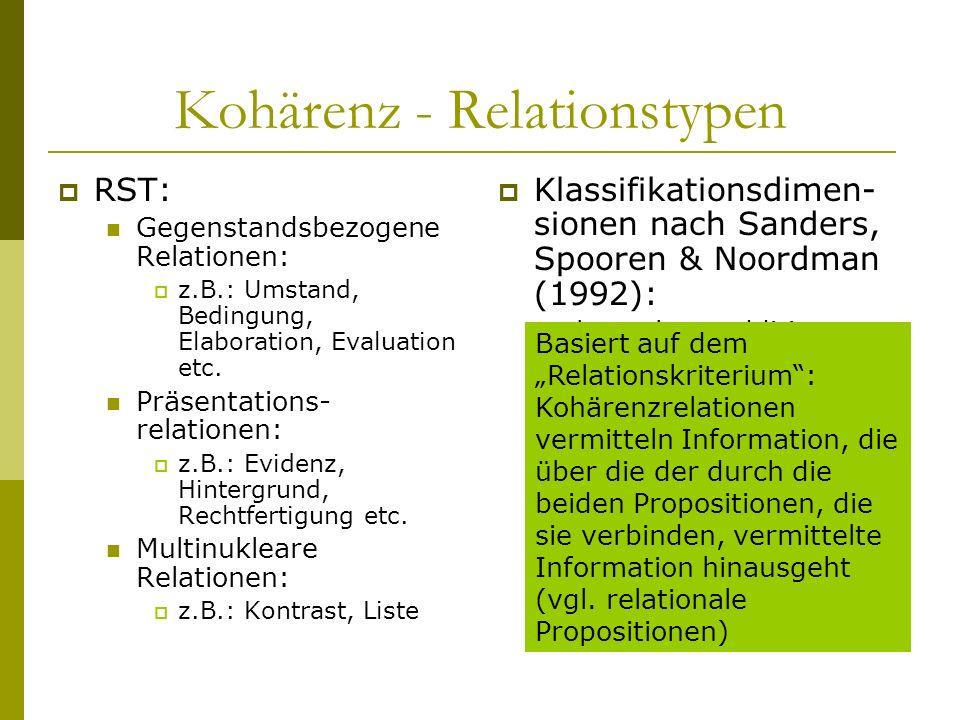 Kohärenz - Relationstypen RST: Gegenstandsbezogene Relationen: z.B.: Umstand, Bedingung, Elaboration, Evaluation etc. Präsentations- relationen: z.B.: