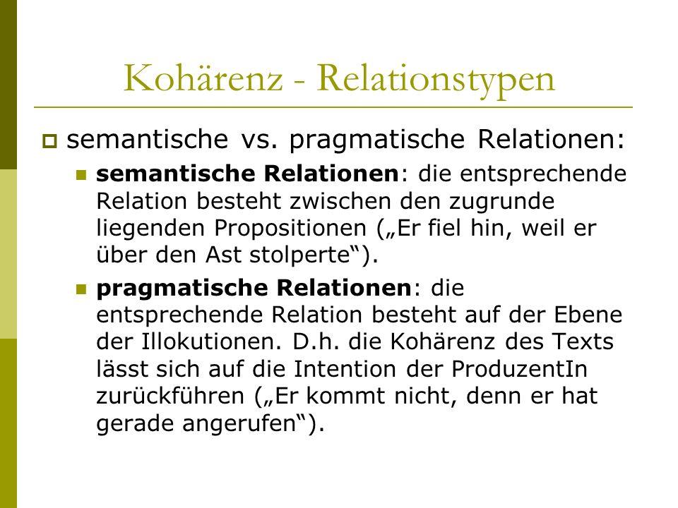 Kohärenz - Relationstypen semantische vs. pragmatische Relationen: semantische Relationen: die entsprechende Relation besteht zwischen den zugrunde li