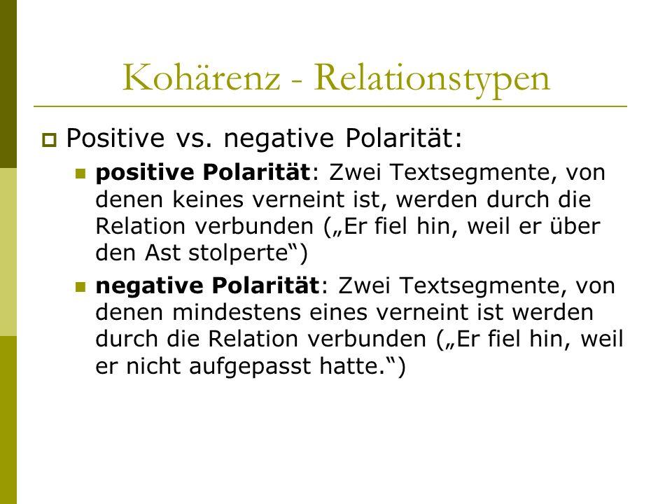 Kohärenz - Relationstypen Positive vs. negative Polarität: positive Polarität: Zwei Textsegmente, von denen keines verneint ist, werden durch die Rela