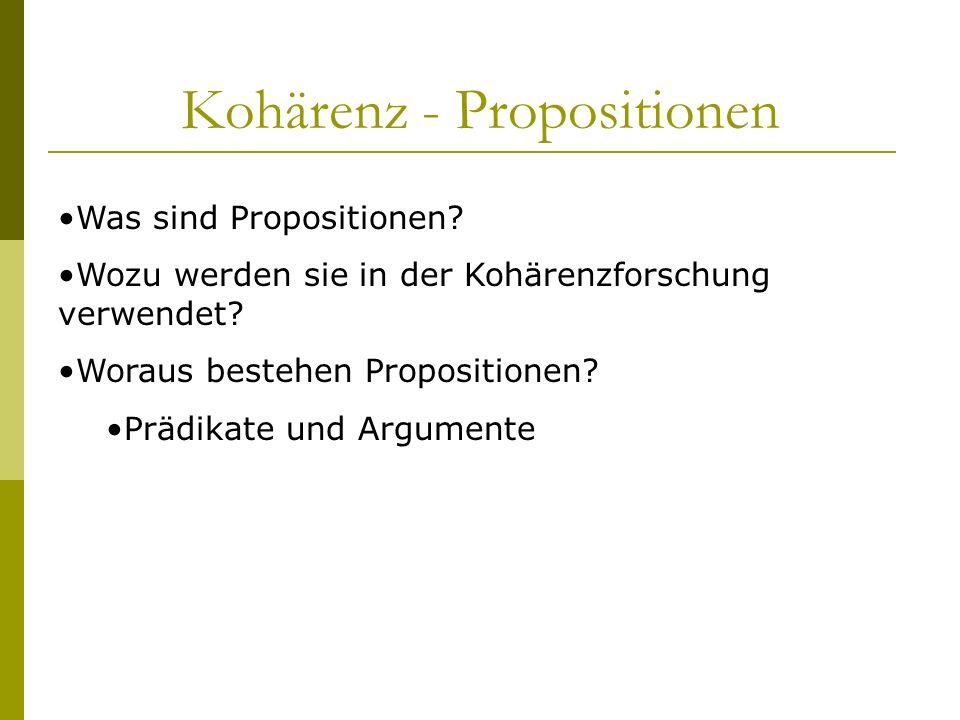 Kohärenz - Propositionen Was sind Propositionen? Wozu werden sie in der Kohärenzforschung verwendet? Woraus bestehen Propositionen? Prädikate und Argu
