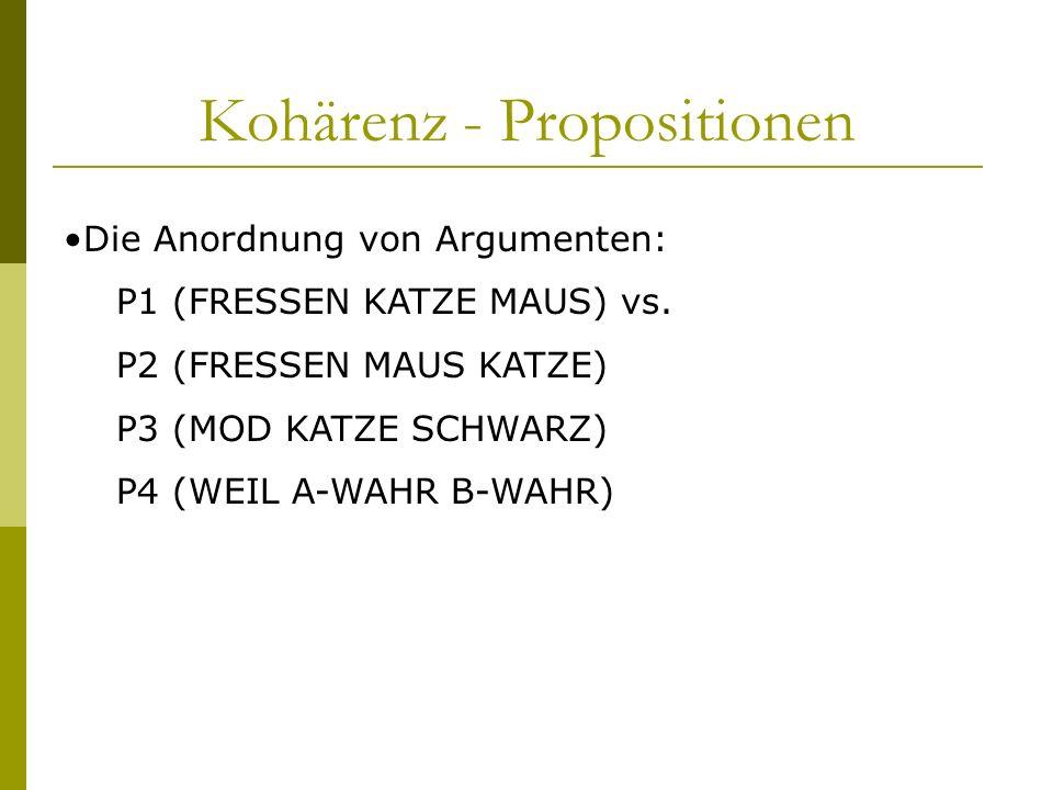 Kohärenz - Propositionen Die Anordnung von Argumenten: P1 (FRESSEN KATZE MAUS) vs. P2 (FRESSEN MAUS KATZE) P3 (MOD KATZE SCHWARZ) P4 (WEIL A-WAHR B-WA