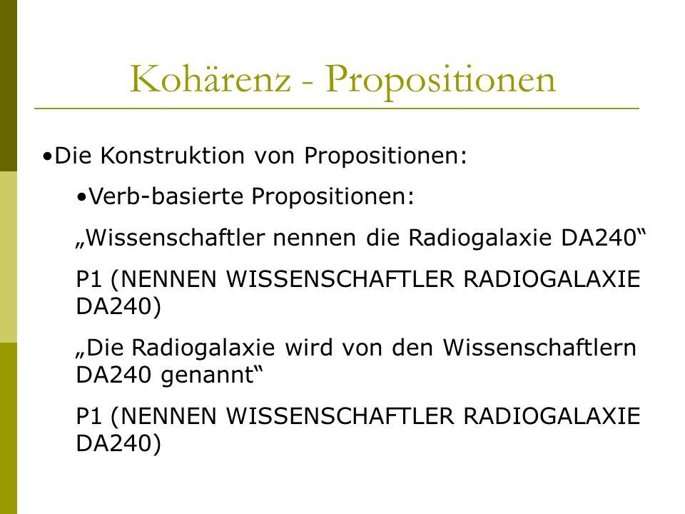 Kohärenz - Propositionen Die Konstruktion von Propositionen: Verb-basierte Propositionen: Wissenschaftler nennen die Radiogalaxie DA240 P1(NENNEN WISS