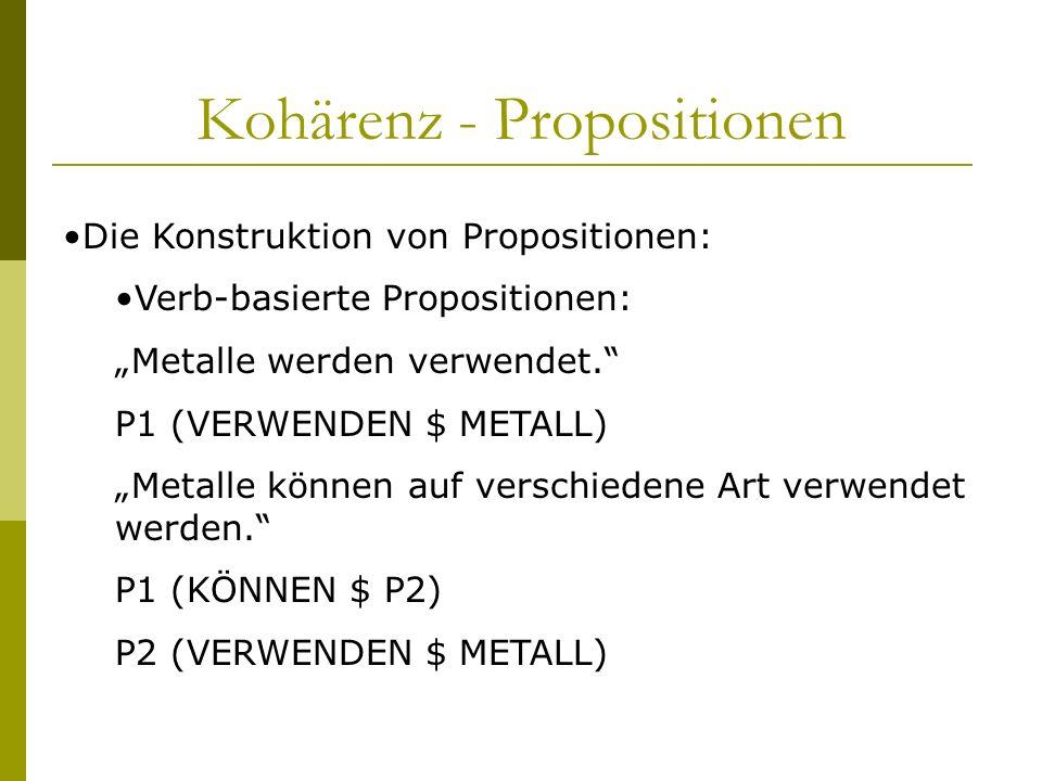 Kohärenz - Propositionen Die Konstruktion von Propositionen: Verb-basierte Propositionen: Metalle werden verwendet. P1 (VERWENDEN $ METALL) Metalle kö