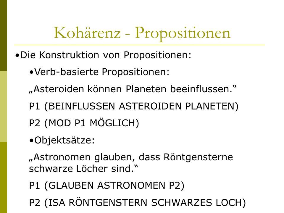 Kohärenz - Propositionen Die Konstruktion von Propositionen: Verb-basierte Propositionen: Asteroiden können Planeten beeinflussen. P1 (BEINFLUSSEN AST