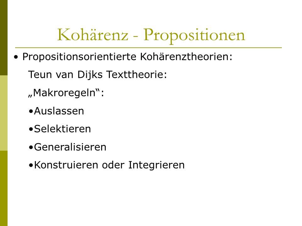 Kohärenz - Propositionen Propositionsorientierte Kohärenztheorien: Teun van Dijks Texttheorie: Makroregeln: Auslassen Selektieren Generalisieren Konst