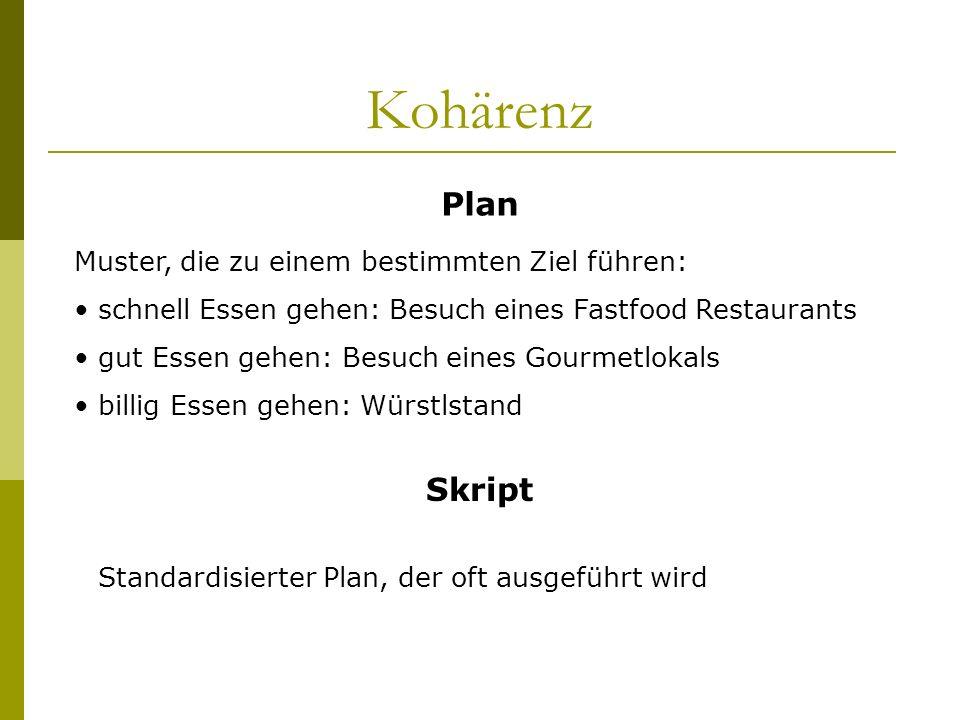 Kohärenz Plan Muster, die zu einem bestimmten Ziel führen: schnell Essen gehen: Besuch eines Fastfood Restaurants gut Essen gehen: Besuch eines Gourme