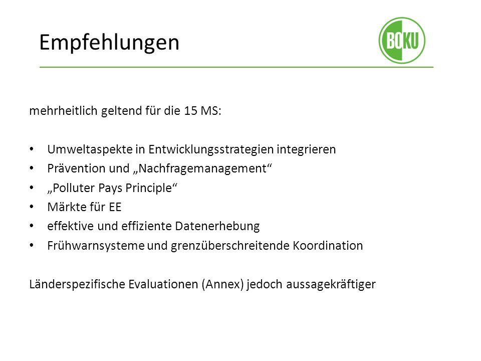 Empfehlungen mehrheitlich geltend für die 15 MS: Umweltaspekte in Entwicklungsstrategien integrieren Prävention und Nachfragemanagement Polluter Pays