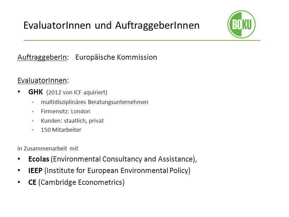 EvaluatorInnen und AuftraggeberInnen AuftraggeberIn: Europäische Kommission EvaluatorInnen: GHK (2012 von ICF aquiriert) multidisziplinäres Beratungsu
