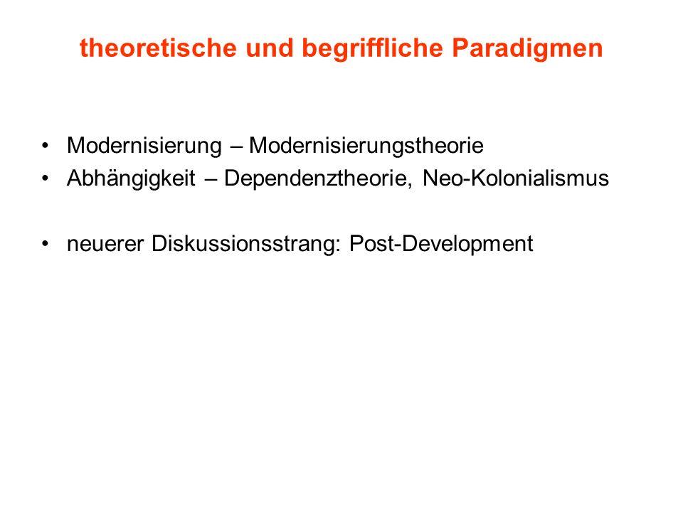 theoretische und begriffliche Paradigmen Modernisierung – Modernisierungstheorie Abhängigkeit – Dependenztheorie, Neo-Kolonialismus neuerer Diskussion