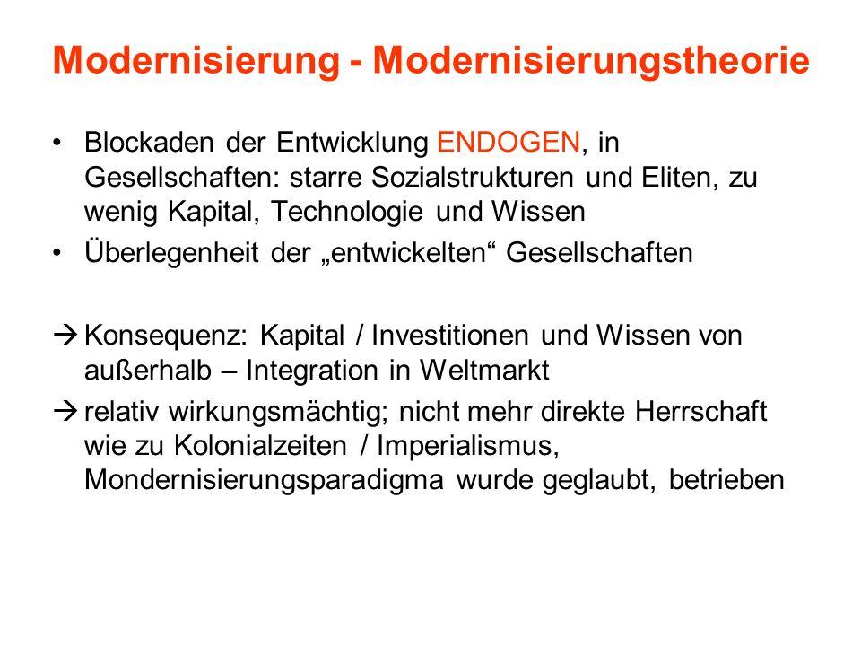 Modernisierung - Modernisierungstheorie Blockaden der Entwicklung ENDOGEN, in Gesellschaften: starre Sozialstrukturen und Eliten, zu wenig Kapital, Te