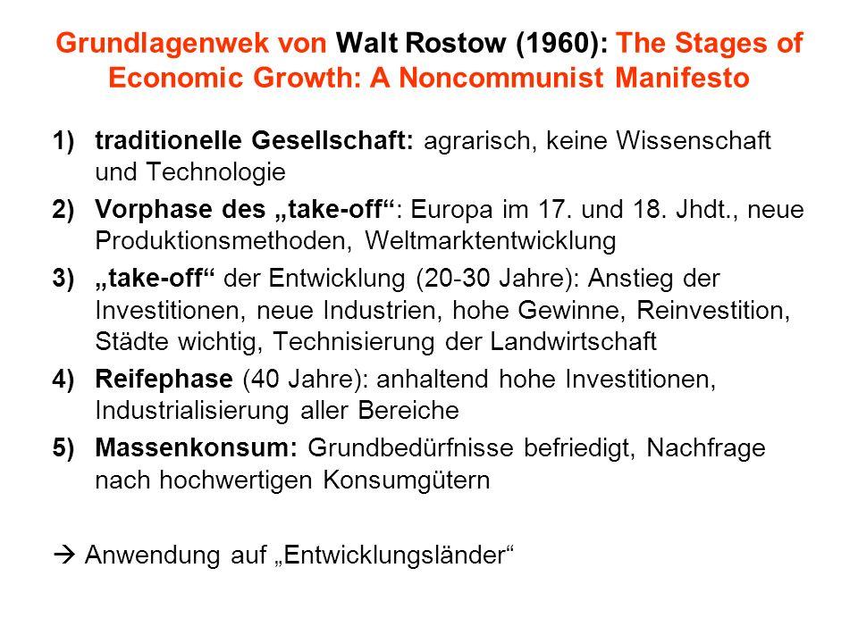 Grundlagenwek von Walt Rostow (1960): The Stages of Economic Growth: A Noncommunist Manifesto 1)traditionelle Gesellschaft: agrarisch, keine Wissensch