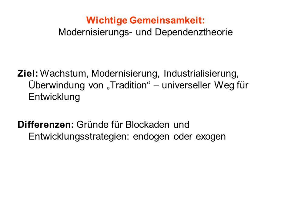 Wichtige Gemeinsamkeit: Modernisierungs- und Dependenztheorie Ziel: Wachstum, Modernisierung, Industrialisierung, Überwindung von Tradition – universe
