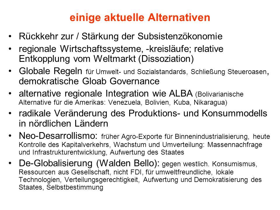 einige aktuelle Alternativen Rückkehr zur / Stärkung der Subsistenzökonomie regionale Wirtschaftssysteme, -kreisläufe; relative Entkopplung vom Weltma