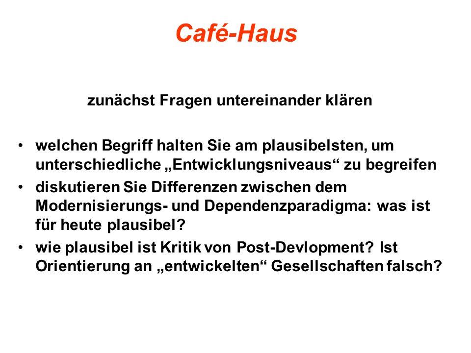 Café-Haus zunächst Fragen untereinander klären welchen Begriff halten Sie am plausibelsten, um unterschiedliche Entwicklungsniveaus zu begreifen disku