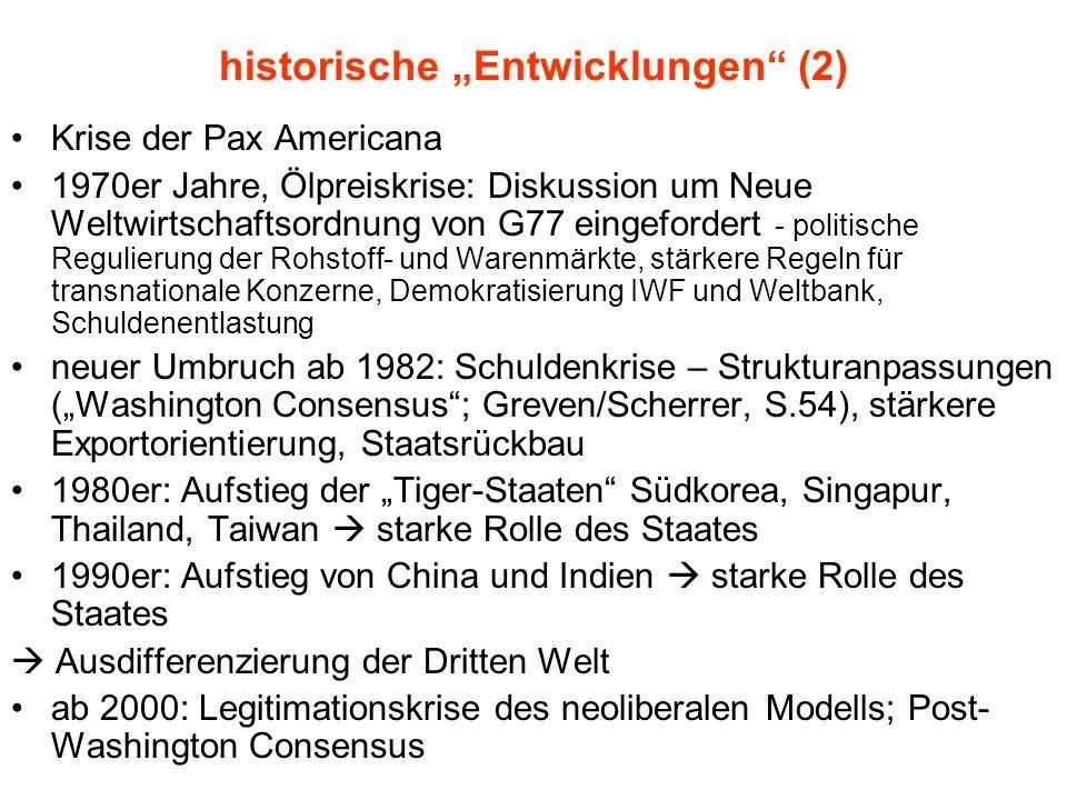 historische Entwicklungen (2) Krise der Pax Americana 1970er Jahre, Ölpreiskrise: Diskussion um Neue Weltwirtschaftsordnung von G77 eingefordert - pol