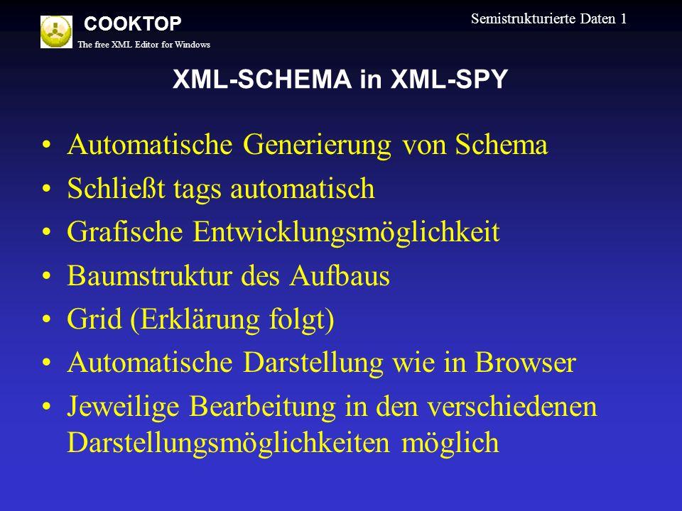 The free XML Editor for Windows COOKTOP Semistrukturierte Daten 1 XML-SCHEMA in XML-SPY Automatische Generierung von Schema Schließt tags automatisch