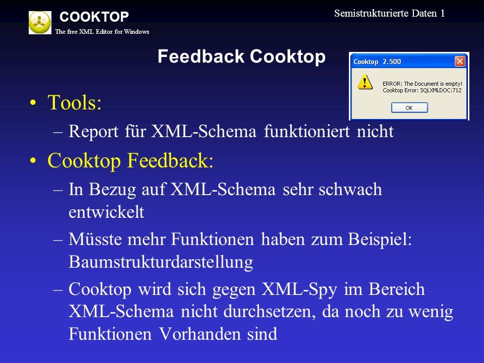 The free XML Editor for Windows COOKTOP Semistrukturierte Daten 1 Feedback Cooktop Tools: –Report für XML-Schema funktioniert nicht Cooktop Feedback: