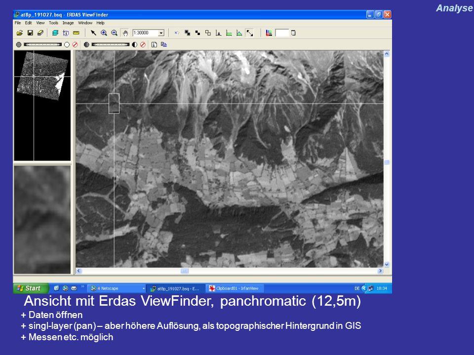 Ansicht mit Erdas ViewFinder, panchromatic (12,5m) + Daten öffnen + singl-layer (pan) – aber höhere Auflösung, als topographischer Hintergrund in GIS