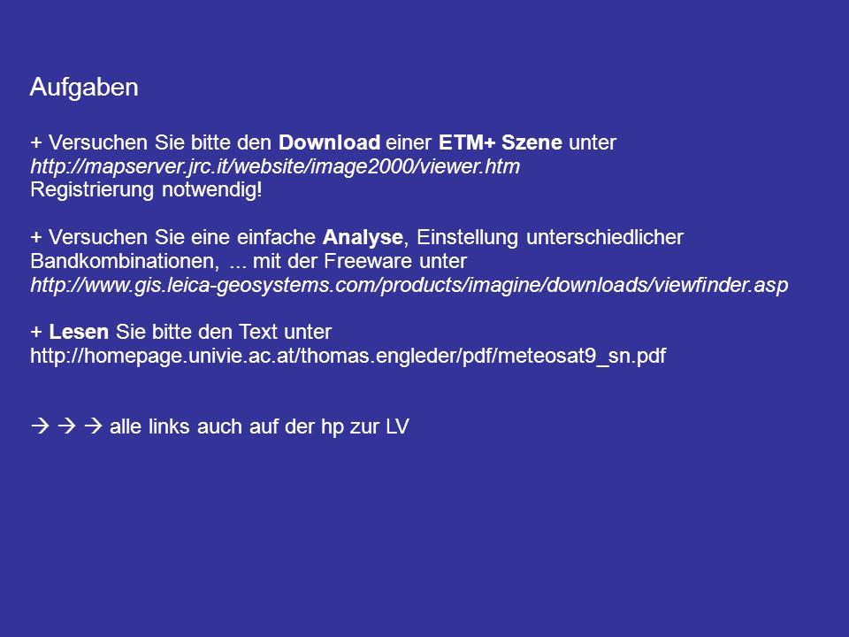 Aufgaben + Versuchen Sie bitte den Download einer ETM+ Szene unter http://mapserver.jrc.it/website/image2000/viewer.htm Registrierung notwendig! + Ver