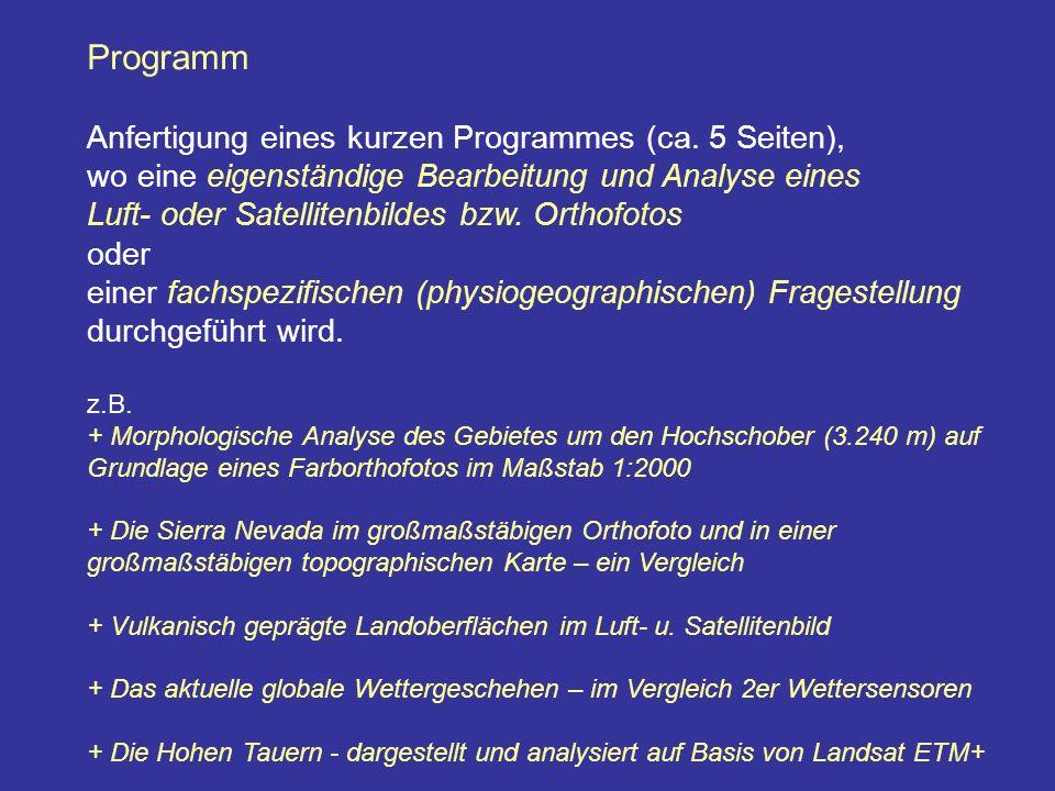 Programm Anfertigung eines kurzen Programmes (ca.