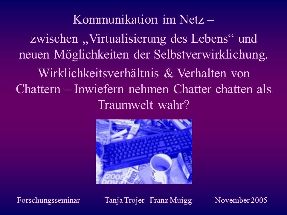 Kommunikation im Netz – zwischen Virtualisierung des Lebens und neuen Möglichkeiten der Selbstverwirklichung. Wirklichkeitsverhältnis & Verhalten von