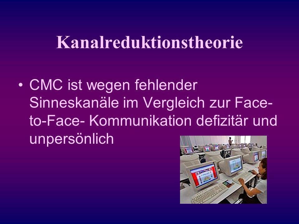Kanalreduktionstheorie CMC ist wegen fehlender Sinneskanäle im Vergleich zur Face- to-Face- Kommunikation defizitär und unpersönlich