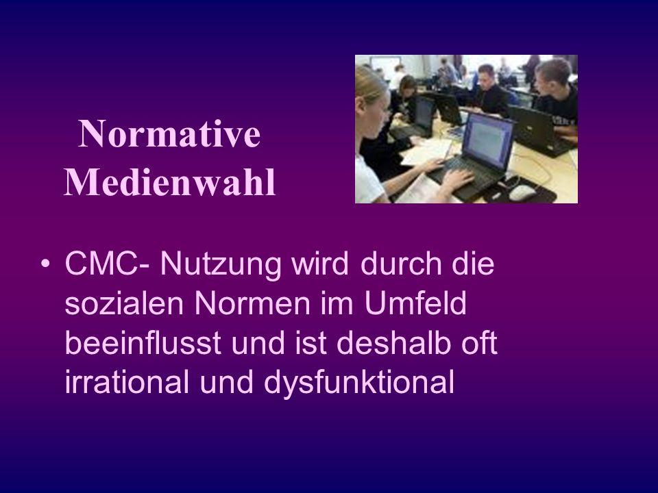 Normative Medienwahl CMC- Nutzung wird durch die sozialen Normen im Umfeld beeinflusst und ist deshalb oft irrational und dysfunktional