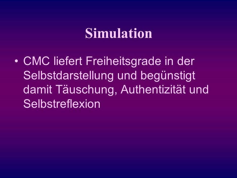 Studie 2:Onlinestudie der Universität Bremen Thema: Kommunikation und Identitätsbildung in Chats und Online- Rollenspielen 143 Onlinefragebögen Probanden: alle Altersklassen, verschiedene Schulabschlüsse, verschiedenes Nutzerverhalten