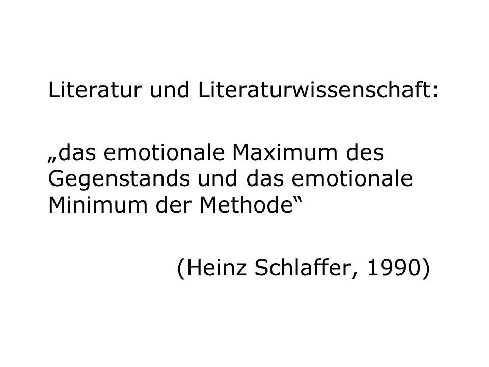 Literatur und Literaturwissenschaft: das emotionale Maximum des Gegenstands und das emotionale Minimum der Methode (Heinz Schlaffer, 1990)