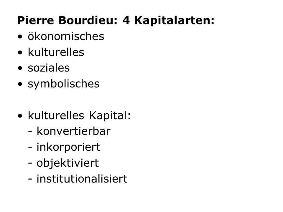 Pierre Bourdieu: 4 Kapitalarten: ökonomisches kulturelles soziales symbolisches kulturelles Kapital: - konvertierbar - inkorporiert - objektiviert - i