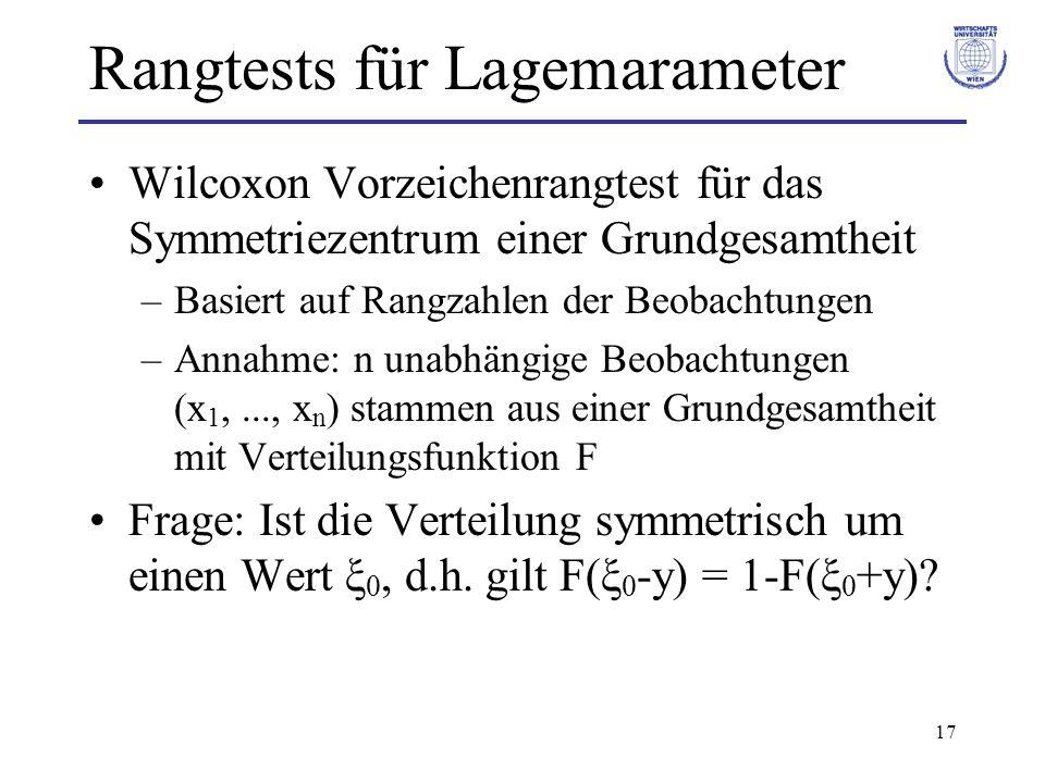 17 Rangtests für Lagemarameter Wilcoxon Vorzeichenrangtest für das Symmetriezentrum einer Grundgesamtheit –Basiert auf Rangzahlen der Beobachtungen –A