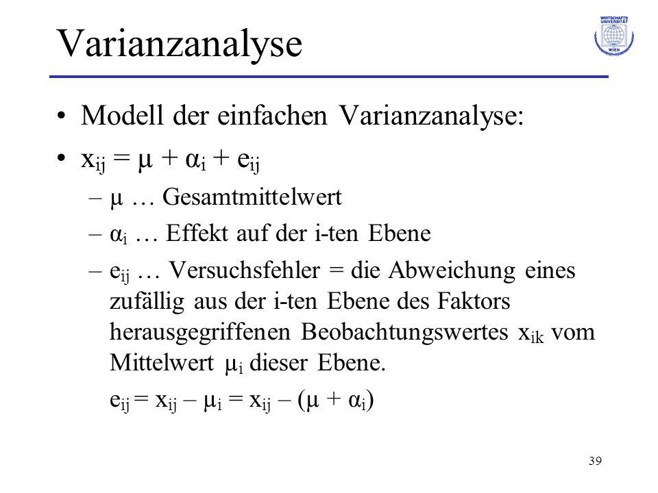 39 Varianzanalyse Modell der einfachen Varianzanalyse: x ij = µ + α i + e ij –µ … Gesamtmittelwert –α i … Effekt auf der i-ten Ebene –e ij … Versuchsf