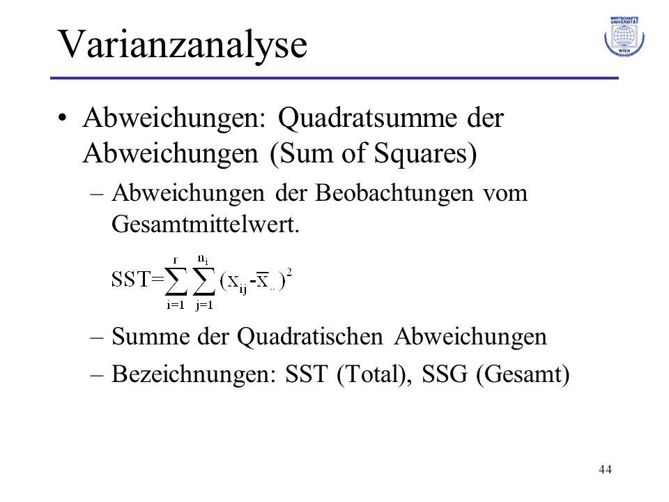 44 Varianzanalyse Abweichungen: Quadratsumme der Abweichungen (Sum of Squares) –Abweichungen der Beobachtungen vom Gesamtmittelwert. –Summe der Quadra