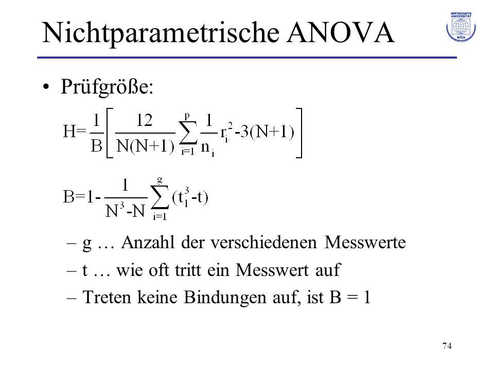 74 Nichtparametrische ANOVA Prüfgröße: –g … Anzahl der verschiedenen Messwerte –t … wie oft tritt ein Messwert auf –Treten keine Bindungen auf, ist B