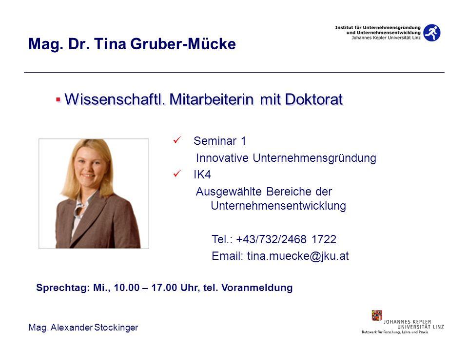 Mag. Alexander Stockinger Mag. Dr. Tina Gruber-Mücke Wissenschaftl. Mitarbeiterin mit Doktorat Seminar 1 Innovative Unternehmensgründung IK4 Ausgewähl