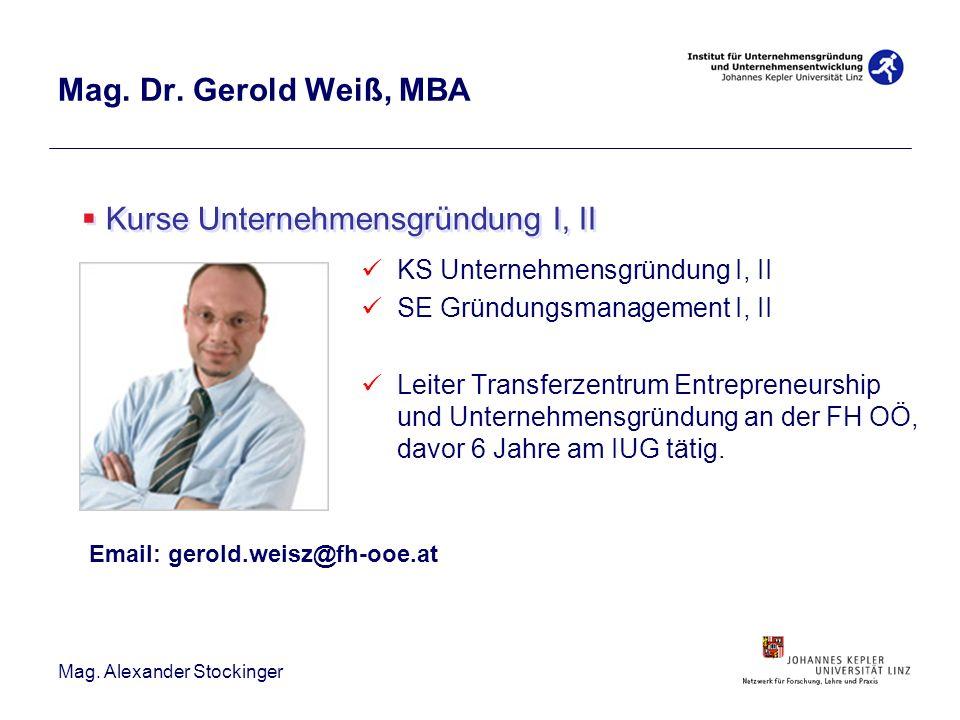 Mag. Alexander Stockinger Mag. Dr. Gerold Weiß, MBA KS Unternehmensgründung I, II SE Gründungsmanagement I, II Leiter Transferzentrum Entrepreneurship