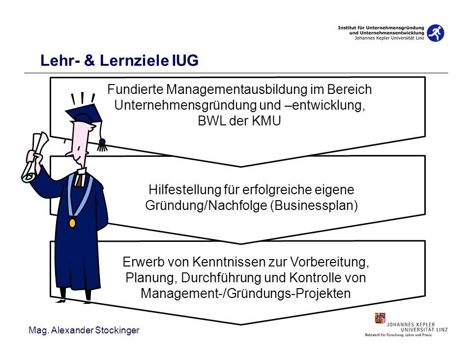 Mag. Alexander Stockinger Erwerb von Kenntnissen zur Vorbereitung, Planung, Durchführung und Kontrolle von Management-/Gründungs-Projekten Fundierte M