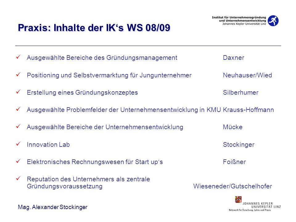 Mag. Alexander Stockinger Praxis: Inhalte der IKs WS 08/09 Ausgewählte Bereiche des GründungsmanagementDaxner Positioning und Selbstvermarktung für Ju