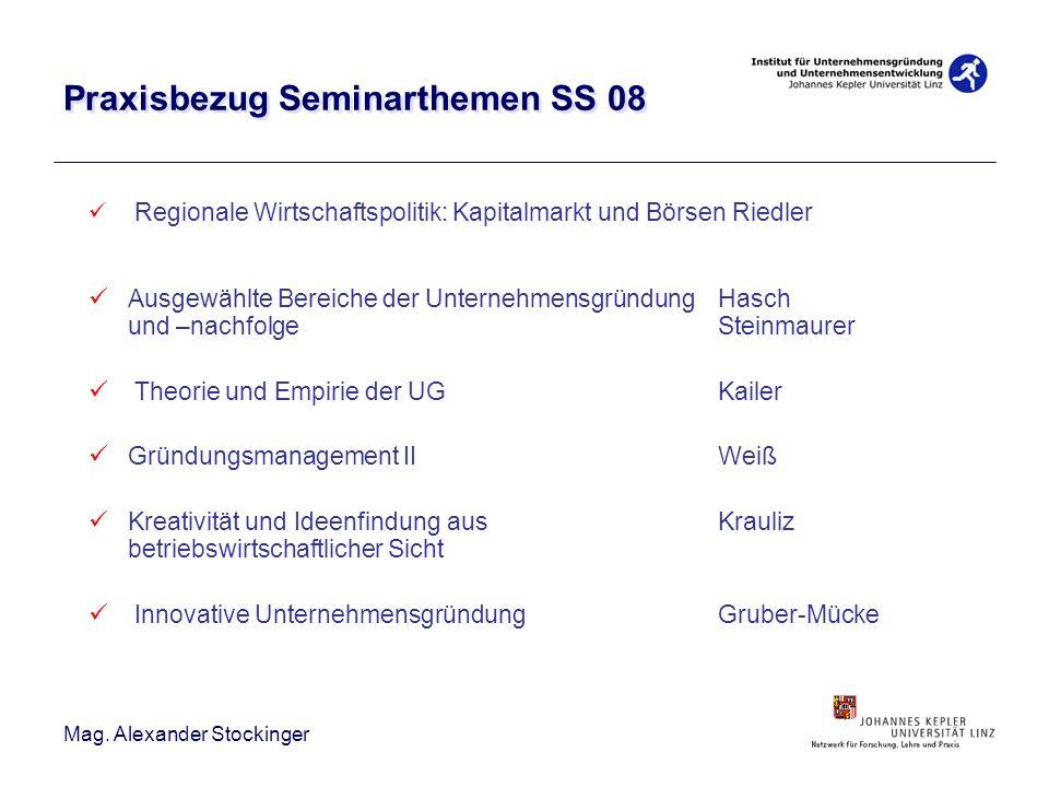 Mag. Alexander Stockinger Praxisbezug Seminarthemen SS 08 Regionale Wirtschaftspolitik: Kapitalmarkt und Börsen Riedler Ausgewählte Bereiche der Unter