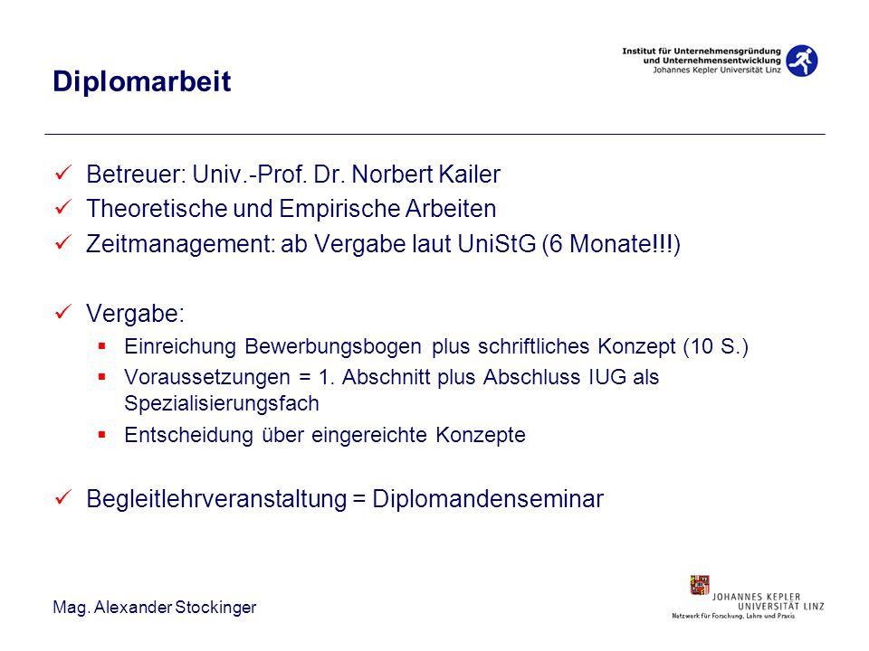 Mag. Alexander Stockinger Diplomarbeit Betreuer: Univ.-Prof. Dr. Norbert Kailer Theoretische und Empirische Arbeiten Zeitmanagement: ab Vergabe laut U