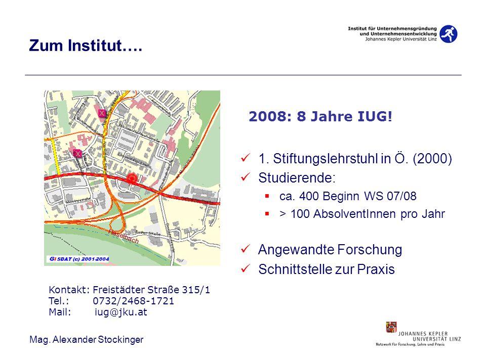 Zum Institut…. 1. Stiftungslehrstuhl in Ö. (2000) Studierende: ca. 400 Beginn WS 07/08 > 100 AbsolventInnen pro Jahr Angewandte Forschung Schnittstell
