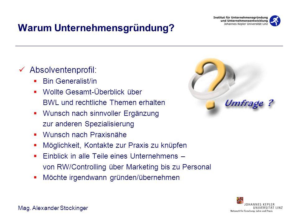 Mag. Alexander Stockinger Absolventenprofil: Bin Generalist/in Wollte Gesamt-Überblick über BWL und rechtliche Themen erhalten Wunsch nach sinnvoller