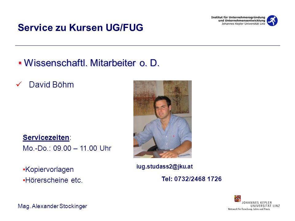 Mag. Alexander Stockinger Service zu Kursen UG/FUG Wissenschaftl. Mitarbeiter o. D. David Böhm iug.studass2@jku.at Tel: 0732/2468 1726 Servicezeiten: