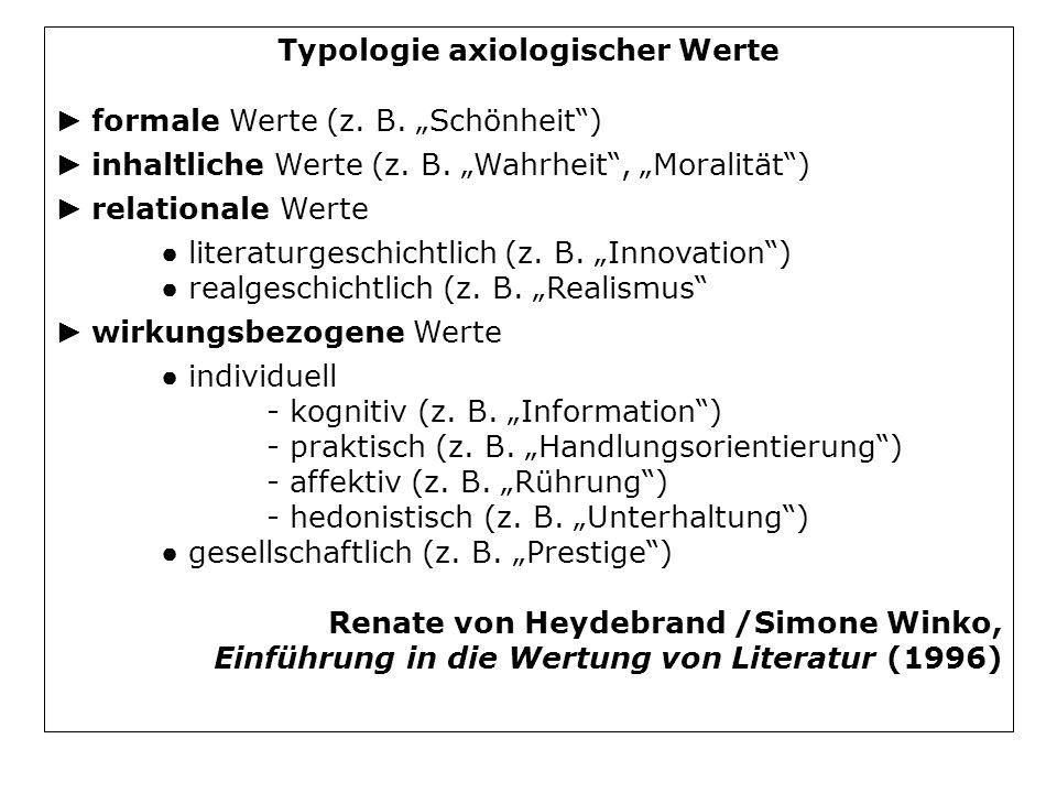 Typologie axiologischer Werte formale Werte (z. B. Schönheit) inhaltliche Werte (z. B. Wahrheit, Moralität) relationale Werte literaturgeschichtlich (