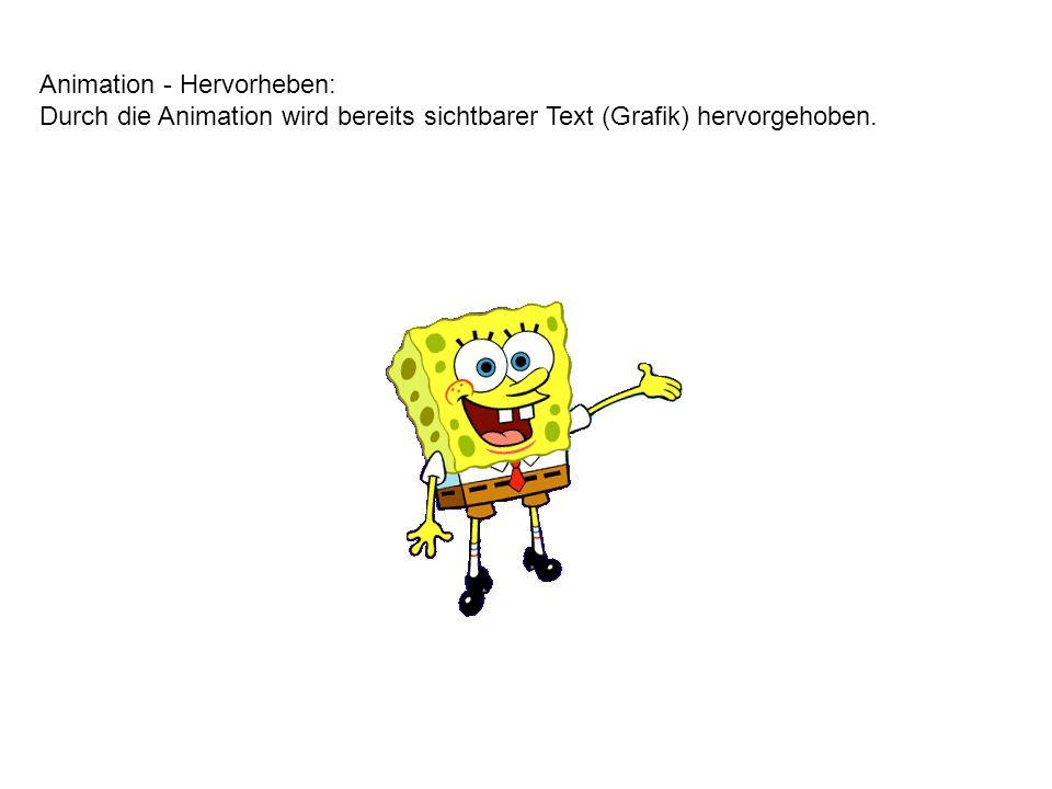 Animation – Eingang: Durch die Animation wird bis dahin unsichtbarer Text (Grafik) erst sichtbar.