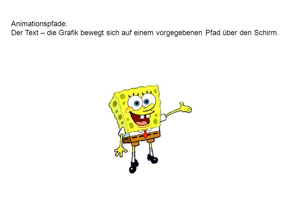 Animation - Beenden: Durch die Animation wird der Text – die Grafik ausgeblendet.
