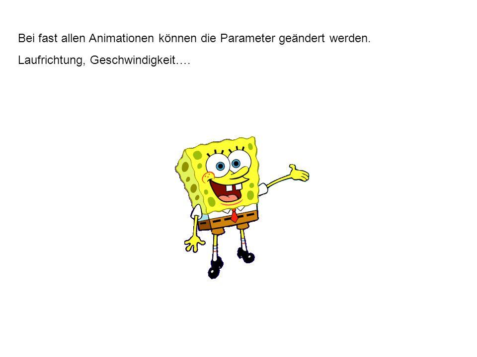 Animationspfade: Der Text – die Grafik bewegt sich auf einem vorgegebenen Pfad über den Schirm.