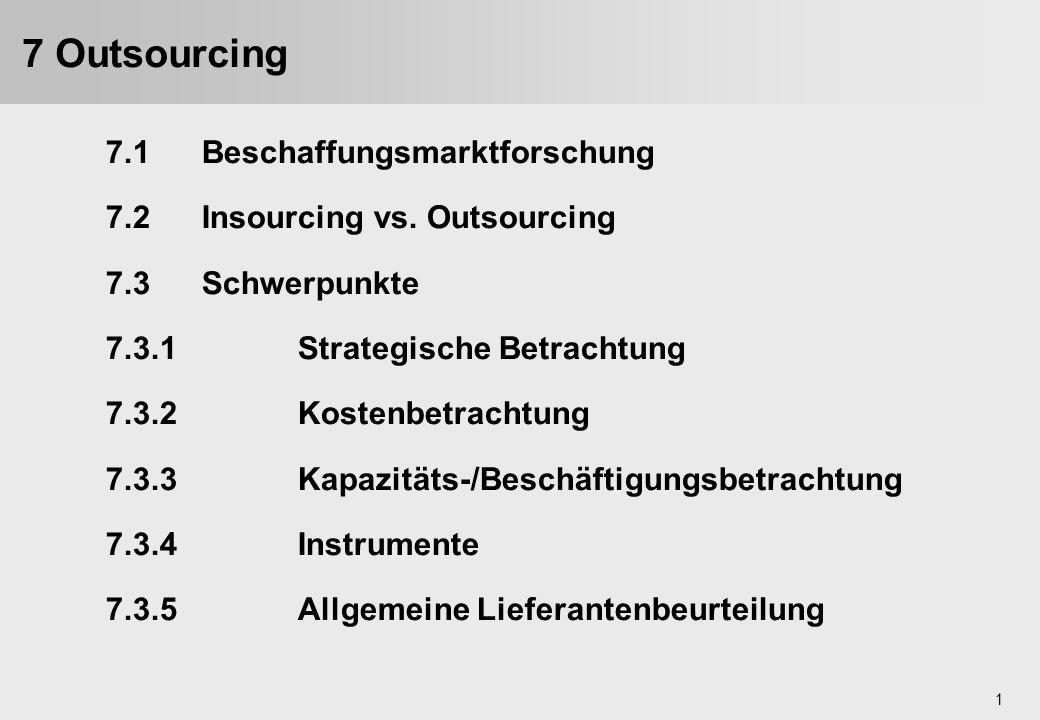1 7.1Beschaffungsmarktforschung 7.2Insourcing vs. Outsourcing 7.3Schwerpunkte 7.3.1Strategische Betrachtung 7.3.2Kostenbetrachtung 7.3.3Kapazitäts-/Be