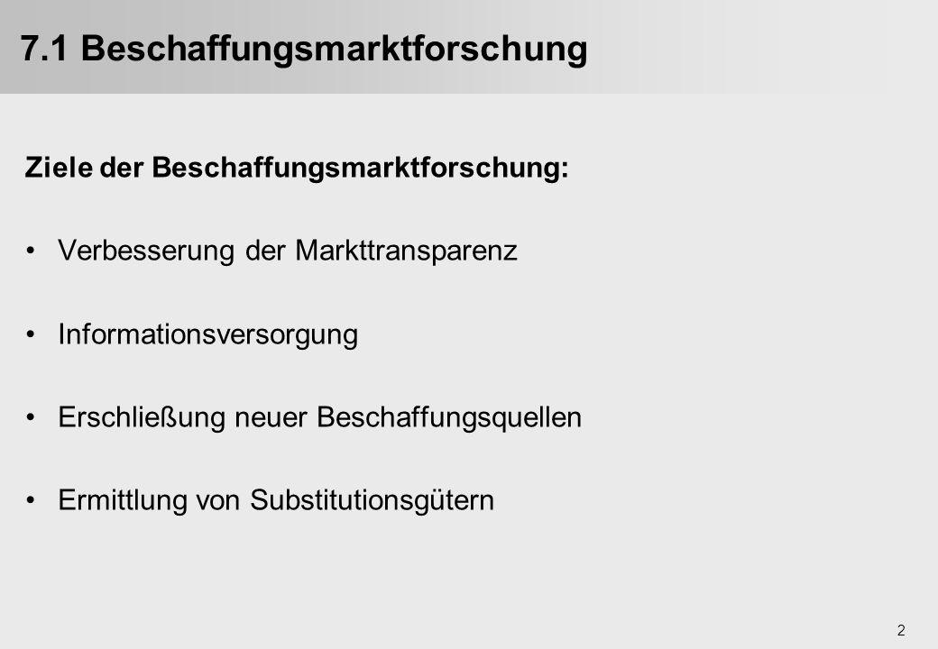 2 7.1 Beschaffungsmarktforschung Ziele der Beschaffungsmarktforschung: Verbesserung der Markttransparenz Informationsversorgung Erschließung neuer Bes