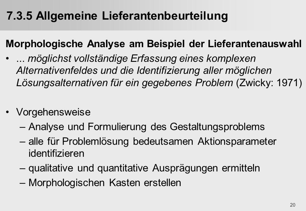 20 7.3.5 Allgemeine Lieferantenbeurteilung Morphologische Analyse am Beispiel der Lieferantenauswahl... möglichst vollständige Erfassung eines komplex